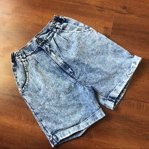 VINTAGE 80s Acid Wash Super Hi Rise Denim Shorts